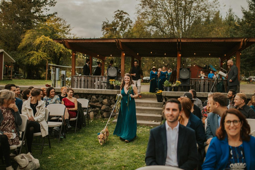 Portland Oregon wedding ceremony in the forest